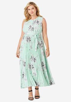 Pleated Maxi Dress, CRYSTAL JADE PRIMROSE