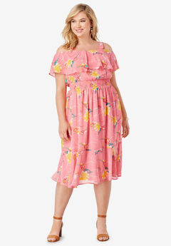 Flounce Hem Midi Dress,