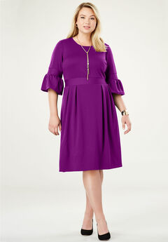 Ponte Fit & Flare Dress, TRUE GRAPE