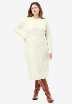 Cable Sweater Dress, IVORY