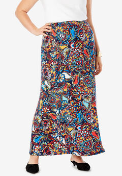 Travel Knit Maxi Skirt, NAVY PAINTED PAISLEY