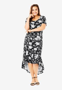 Everyday Knit Flounce Hem Maxi Dress,