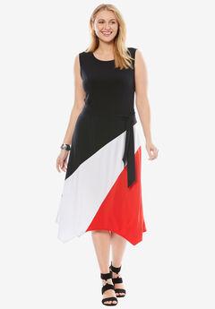 Asymmetric Side-Tie Midi Dress,