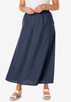 Linen Maxi Skirt, NAVY