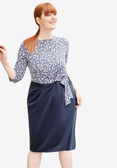 Printed Ponte Fit & Flare Dress,