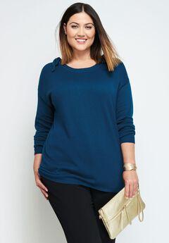 Fine Gauge Cold Shoulder Sweater,