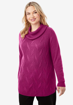 Cotton Cashmere Cowl Neck Sweater, RASPBERRY