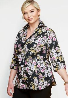 01a332b4831 Three-Quarter Sleeve Poplin Shirt. Jessica London