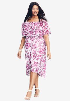 Ruffle Midi Dress, RADIANT ORCHID FLORAL PRINT