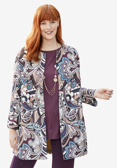 Three-Quarter Sleeve Collarless Topper, PAISLEY SPLASH