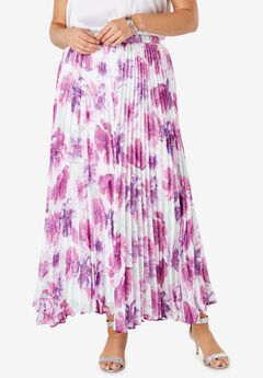 Pleated Maxi Skirt, WHITE ROSE GARDEN