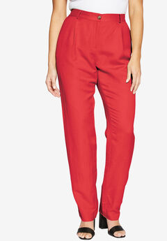 Linen Blend Pants, HOT RED