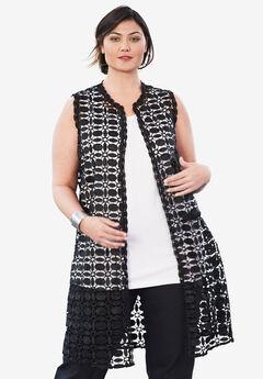 Lace Vest, BLACK
