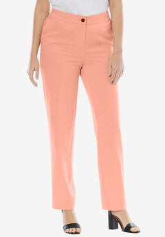 Straight Leg Bi-Stretch Pants, SOFT PEACH