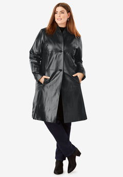 Leather Swing Coat, BLACK