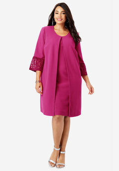 Lace Trim Jacket Dress,
