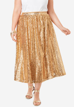 Sequin Skirt, GOLD SEQUIN