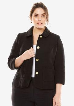 The Textured Tweed Crop Blazer,