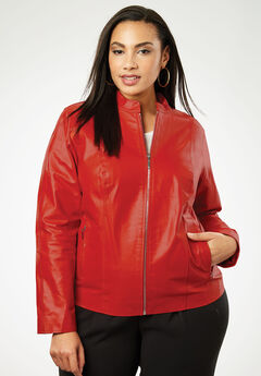 Zip Front Leather Jacket, BURNT RED