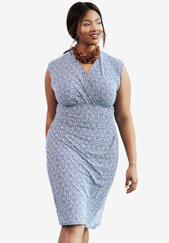 Faux Wrap Dress, DARK COBALT MEDALLION