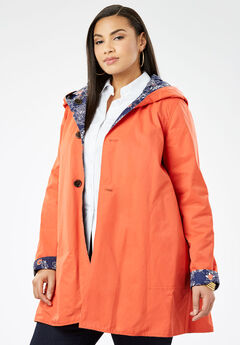 Reversible A-Line Raincoat, NAVY OPULENCE FLORAL