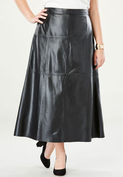 Leather Midi Skirt, BLACK