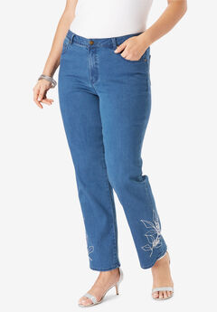 Embroidered Straight Leg Jeans,