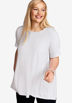 Hi-Low Back Pleat Tunic, WHITE