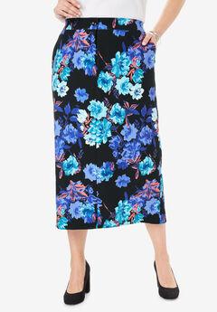 Tummy Control Bi-Stretch Midi Skirt,