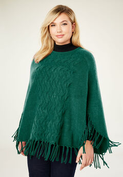 Cable Front Poncho Sweater, DARK EMERALD
