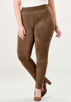 Faux Suede & Ponte Knit Pants,