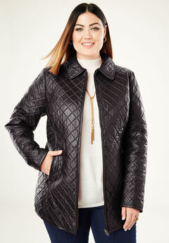 Quilted Zip-Front Leather Jacket, BLACK