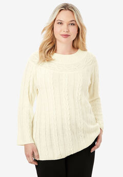 Cable Knit Tunic, IVORY