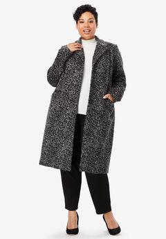 Wool-Blend Coat, GREY ANIMAL PRINT