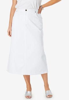 Classic Cotton Denim Long Skirt, WHITE