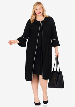Bell Sleeve Ponte Jacket Dress, BLACK IVORY