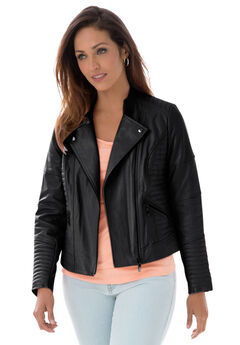 Quilted Leather Moto Jacket,
