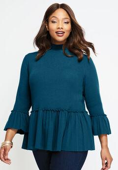 Peplum Pullover Sweater, TWILIGHT TEAL