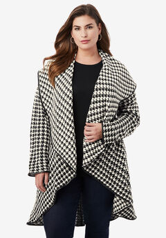 Faux Leather-Trim Sweater, IVORY HOUNDSTOOTH