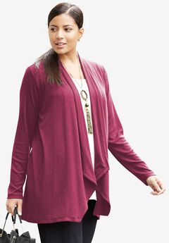 Lightweight Open-Front Knit Cardigan,