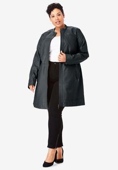 Long Moto Leather Jacket, BLACK