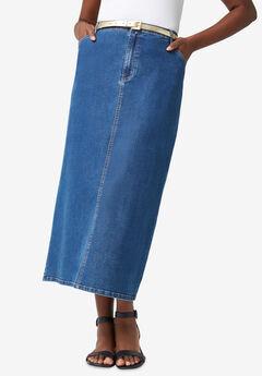 True Fit Denim Skirt, MEDIUM STONEWASH