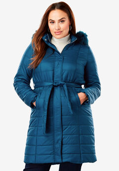 Belted Puffer Coat, TWILIGHT TEAL