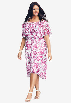 Ruffle Midi Dress, RADIANT ORCHID FLORAL PRINT