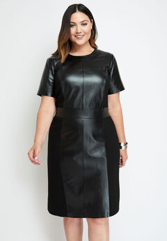 Leather Ponte Sheath Dress, BLACK