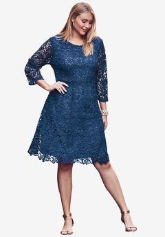 Lace Fit & Flare Dress, DARK COBALT