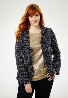 Sparkle Tweed Jacket, NAVY GOLD TWEED