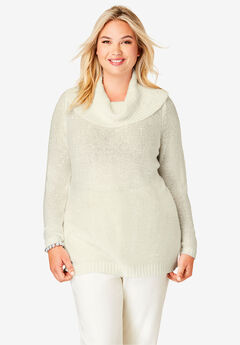 Sequin Cowl Neck Sweater, IVORY