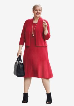 Sweater Jacket Dress, CLASSIC RED