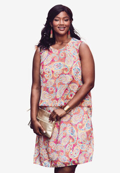 Scoopneck Overlay Dress, PASSION PINK MOSAIC PAISLEY
